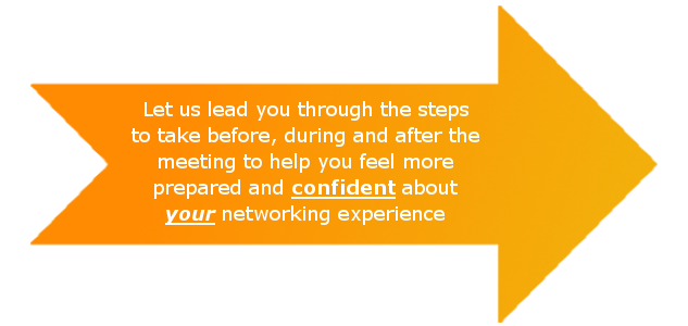 Let us lead you through the steps to take before, during and after the meeting to help you feel more prepared and confident about your networking experience
