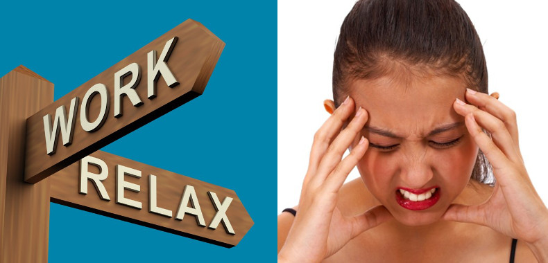 work - relax on signposts with stressed woman